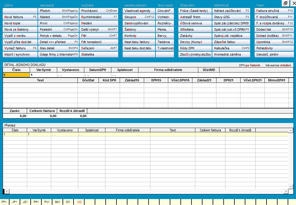 Prostředí agendy - Účetní software Profesionál